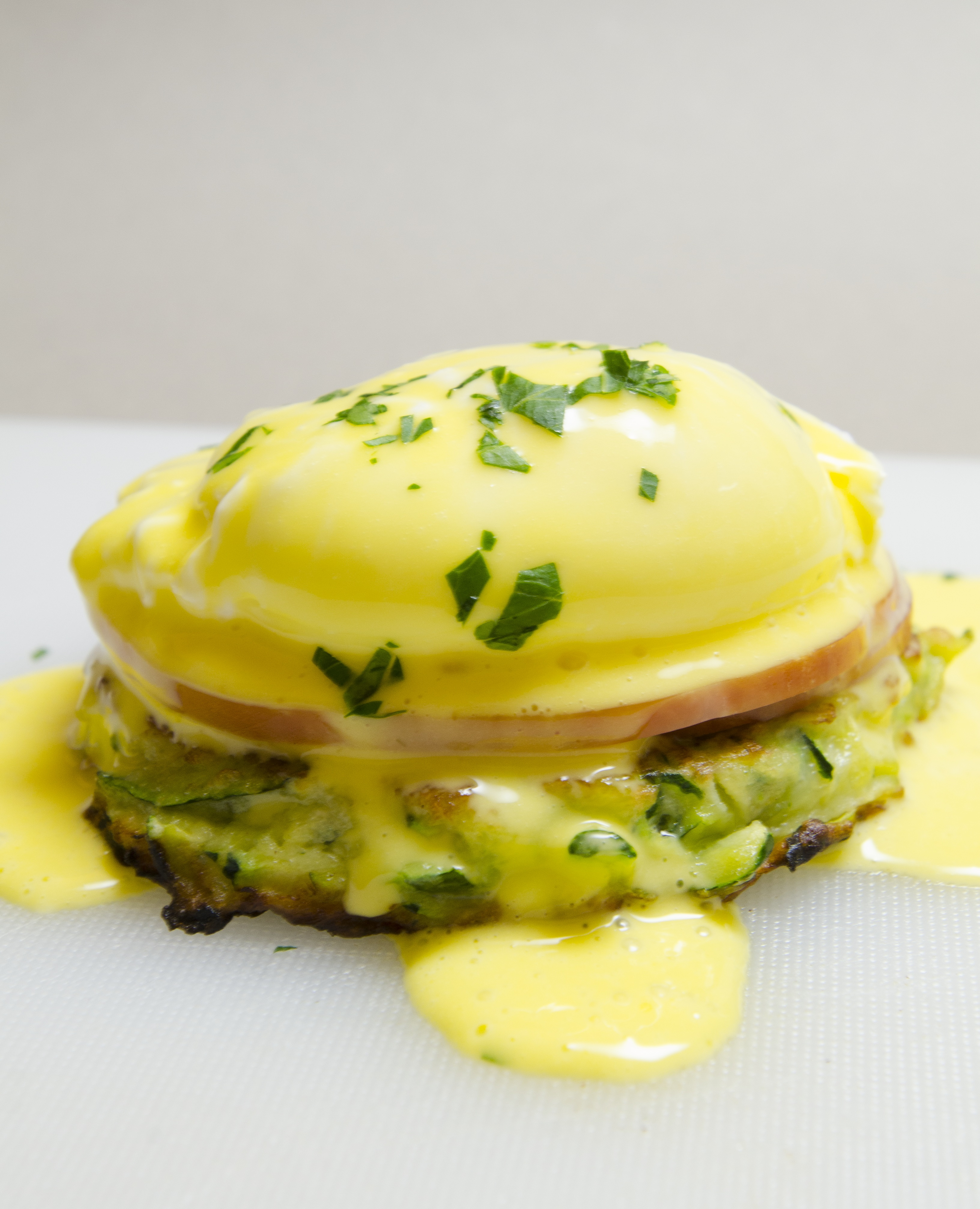 Eggs Benedict with Zucchini Pancakes