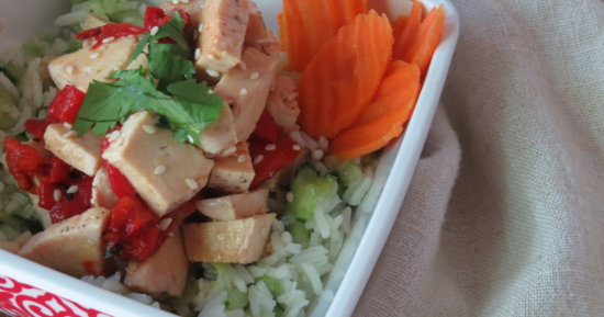 Ginger Chicken with Cucumber Rice