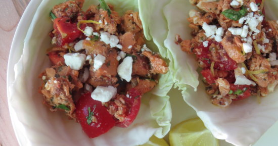 Middle Eastern Salmon Salad in Cabbage Cups