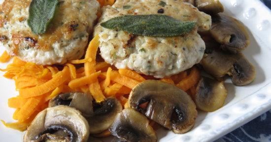 Sage Turkey Sausage with Sweet Potatoes and Mushrooms