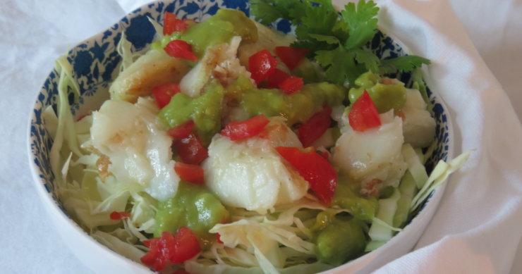 Sea Bass Cabbage Salad with Avocado Cream