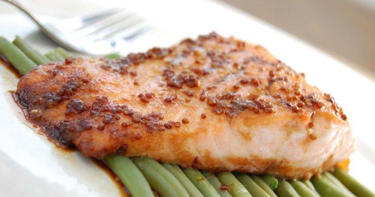 Slow‐Roasted Salmon with Mustard Glaze
